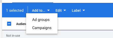 In the blue bar that appears at the top choose 'add to…' and select 'Ad groups'
