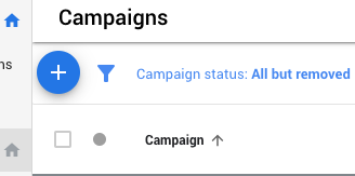 Now click to campaigns and click the blue '+' plus button to start